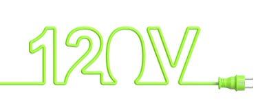 120 έννοια βολτ από το πράσινα καλώδιο και το βούλωμα τρισδιάστατη απόδοση απεικόνιση αποθεμάτων