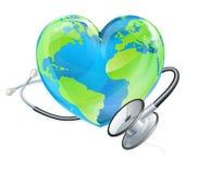 Έννοια γήινων στηθοσκοπίων καρδιών ημέρας παγκόσμιας υγείας σφαιρών Στοκ Εικόνες