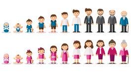 Έννοια γήρανσης των θηλυκών και αρσενικών χαρακτήρων διανυσματική απεικόνιση