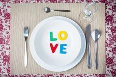 Έννοια γευμάτων βαλεντίνων Στοκ εικόνα με δικαίωμα ελεύθερης χρήσης