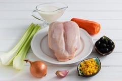 Έννοια γευμάτων - τρόφιμα σε ένα άσπρο υπόβαθρο Στοκ Εικόνες