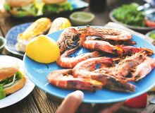 Έννοια γεύσεων κόμματος εορτασμού μεσημεριανού γεύματος τροφίμων Στοκ Εικόνα