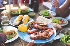 Έννοια γεύσεων κόμματος εορτασμού μεσημεριανού γεύματος τροφίμων Στοκ Εικόνες