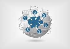 Έννοια για να αποσύρει τα χρήματα από το λογαριασμό ταμιευτηρίου στη σφαιρική οικονομία Στοκ Εικόνες