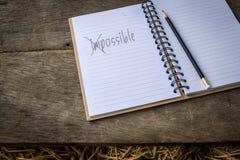 Έννοια για τη λέξη αδύνατη που αλλάζει σε πιθανό Στοκ Φωτογραφίες