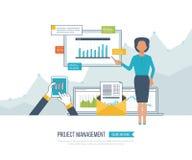 Έννοια για τη διαχείριση του προγράμματος, επένδυση, χρηματοδότηση, οικονομική έκθεση, εκπαίδευση διανυσματική απεικόνιση