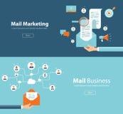 Έννοια για τη σύνδεση μάρκετινγκ ηλεκτρονικού ταχυδρομείου και το ψηφιακό περιεχόμενο μάρκετινγκ απεικόνιση αποθεμάτων