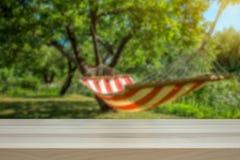 Έννοια για τις διακοπές και τις οκνηρές ημέρες Αιώρα σε έναν ηλιόλουστο πράσινο κήπο που θολώνεται στοκ φωτογραφία με δικαίωμα ελεύθερης χρήσης
