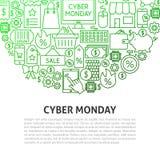 Έννοια γραμμών Δευτέρας Cyber Στοκ φωτογραφία με δικαίωμα ελεύθερης χρήσης
