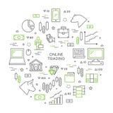 Έννοια γραμμών on-line να κάνει εμπόριο διανυσματική απεικόνιση