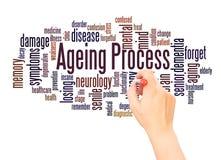 Έννοια γραψίματος χεριών σύννεφων λέξης διαδικασίας γήρανσης διανυσματική απεικόνιση