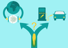 Έννοια: Δίλημμα που χρησιμοποιεί το καλαμπόκι για τα βιολογικά καύσιμα αιθανόλης ή για τους ταΐζοντας ανθρώπους/κρίση στα τρόφιμα Στοκ Φωτογραφίες