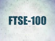 Έννοια δεικτών χρηματιστηρίου: Ftse-100 στο υπόβαθρο εγγράφου ψηφιακών στοιχείων Στοκ Εικόνες