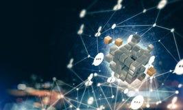 Έννοια Διαδικτύου και της δικτύωσης με τον ψηφιακό αριθμό κύβων για το δ Στοκ Εικόνα