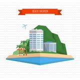 έννοια διακοπών παραλιών Μόνιππο longue, ομπρέλα παραλιών, ξενοδοχείο και διανυσματική απεικόνιση