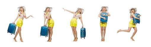 Έννοια διακοπών ταξιδιού με τις αποσκευές στο λευκό στοκ φωτογραφία με δικαίωμα ελεύθερης χρήσης