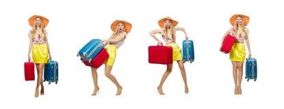 Έννοια διακοπών ταξιδιού με τις αποσκευές στο λευκό στοκ εικόνες