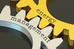 Έννοια διαχείρισης της ενέργειας gearwheels, τρισδιάστατη απόδοση απεικόνιση αποθεμάτων