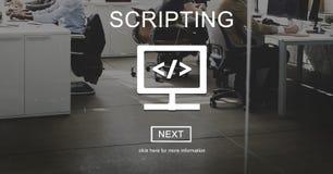 Έννοια Διαδικτύου ανάπτυξης στοιχείων κωδικοποίησης σεναριογραφιών Στοκ εικόνες με δικαίωμα ελεύθερης χρήσης