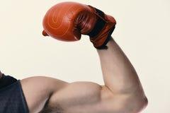 Έννοια δύναμης και κατάρτισης Αθλητής με τον εξοπλισμό κιβωτίων δέρματος που απομονώνεται στο άσπρο υπόβαθρο Στοκ Φωτογραφία