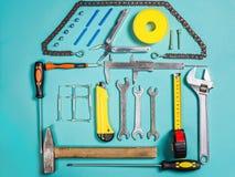 Έννοια εγχώριας βελτίωσης Καθορισμένο εργαλείο χειρός εργασίας για την κατασκευή ή την επισκευή του σπιτιού Στοκ εικόνα με δικαίωμα ελεύθερης χρήσης
