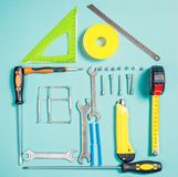 Έννοια εγχώριας βελτίωσης Καθορισμένο εργαλείο χειρός εργασίας για την κατασκευή ή την επισκευή του σπιτιού Στοκ φωτογραφίες με δικαίωμα ελεύθερης χρήσης