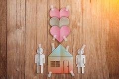 Έννοια εγχώριων η γλυκιά σπιτιών με το έγγραφο έκοψε το επίπεδο οικογενειακό εικονίδιο ύφους Στοκ φωτογραφία με δικαίωμα ελεύθερης χρήσης
