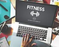 Έννοια εικονιδίων βάρους άσκησης ιδιότητας μέλους γυμναστικής Στοκ Φωτογραφία