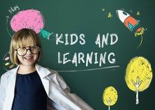 Έννοια εικονιδίων εκμάθησης φαντασίας παιδιών Στοκ φωτογραφία με δικαίωμα ελεύθερης χρήσης