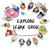 Έννοια εικονιδίων εκμάθησης φαντασίας παιδιών Στοκ φωτογραφίες με δικαίωμα ελεύθερης χρήσης