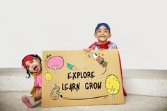 Έννοια εικονιδίων εκμάθησης φαντασίας παιδιών Στοκ εικόνες με δικαίωμα ελεύθερης χρήσης
