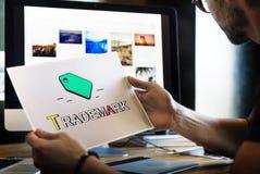 Έννοια εικονιδίων επιχειρησιακού μάρκετινγκ πνευματικών δικαιωμάτων εμπορικών σημάτων ετικεττών Στοκ Φωτογραφίες