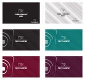 Έννοια εικονιδίων καμερών προτύπων επαγγελματικών καρτών διανυσματική απεικόνιση
