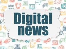 Έννοια ειδήσεων: Ψηφιακές ειδήσεις στο σχισμένο υπόβαθρο εγγράφου Στοκ Φωτογραφία