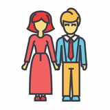 Έννοια ειδώλων οικογένειας, γυναικών και ανδρών διανυσματική απεικόνιση