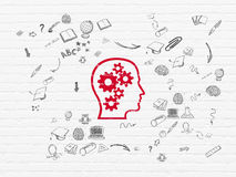 Έννοια εκμάθησης: Κεφάλι με τα εργαλεία στον τοίχο Στοκ Εικόνα