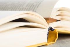 Έννοια εκπαίδευσης και φρόνησης - μακρο άποψη του βιβλίου με το μολύβι Στοκ Εικόνα