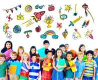 Έννοια εκπαίδευσης δραστηριότητας ελεύθερου χρόνου παιδικής ηλικίας παιδιών απεικόνιση αποθεμάτων