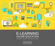Έννοια εμβλημάτων ε-εκμάθησης εκπαίδευση on-line Λεπτά εικονίδια γραμμών επίσης corel σύρετε το διάνυσμα απεικόνισης Για τον Ιστό Στοκ Εικόνες