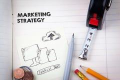 Έννοια εμπορικής στρατηγικής κοινωνικά μέσα, ψηφιακές διαφήμιση και επιχείρηση Διαδικτύου στοκ φωτογραφίες