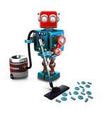 Έννοια ενός ρομπότ που σκουπίζει τα ψηφία στο πάτωμα με ηλεκτρική σκούπα τρισδιάστατο illustra διανυσματική απεικόνιση