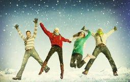 Έννοια ενότητας χειμερινής ευτυχίας φιλίας ελεύθερη απεικόνιση δικαιώματος