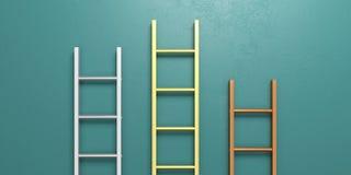 Έννοια εξεδρών νικητών Σκάλες μετάλλων που κλίνουν ενάντια σε έναν πράσινο τοίχο τρισδιάστατη απεικόνιση διανυσματική απεικόνιση