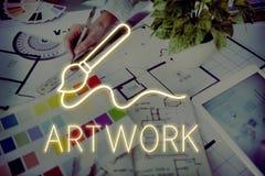 Έννοια δεξιοτήτων φαντασίας δημιουργικότητας ζωγραφικής βουρτσών τέχνης στοκ εικόνα