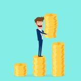 Έννοια επένδυσης και αποταμίευσης Χρυσό νόμισμα εκμετάλλευσης επιχειρηματιών και υποβολή του σωρού Αυξανόμενο κεφάλαιο και κέρδη ελεύθερη απεικόνιση δικαιώματος