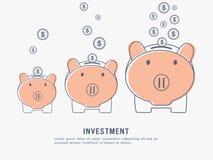 Έννοια επένδυσης και αποταμίευσης με τις piggy τράπεζες Στοκ Εικόνες