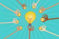 Έννοια επενδυτών Crowdfunding και επιχειρήσεων Στοκ Εικόνες