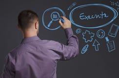 Έννοια επιχειρήσεων, τεχνολογίας, Διαδικτύου και δικτύων Ένας νέος επιχειρηματίας γράφει στον πίνακα τη λέξη: Εκτελέστε στοκ φωτογραφία με δικαίωμα ελεύθερης χρήσης