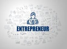 Έννοια επιχειρηματιών με το ύφος σχεδίου επιχειρησιακού Doodle Στοκ Εικόνες