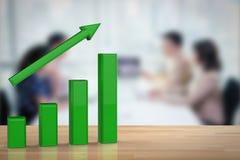 Έννοια επιχειρησιακής αύξησης με την πράσινη γραφική παράσταση Στοκ Εικόνα